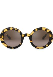 Miu Miu Eyewear Round Frame Sunglasses - Marrom