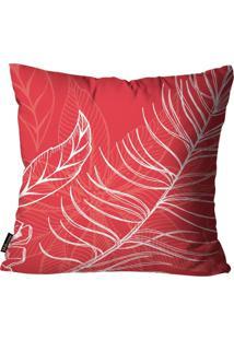 Capa Para Almofada Mdecore Natal Folhas Vermelha 45X45Cm