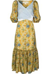 Rentrayage Vestido Com Estampa Floral E Pregas - Amarelo