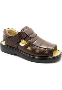 Sandália Masculina 303 Em Couro Floater Doctor Shoes - Masculino-Café