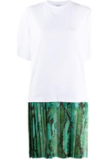 Msgm Vestido Com Saia Plissada - Branco