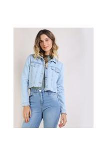 Jaqueta Jeans Feminina Cropped Azul Claro