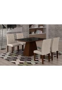 Conjunto De Mesa De Jantar Luna Com 4 Cadeiras Ane Ii Linho Castor E Preto