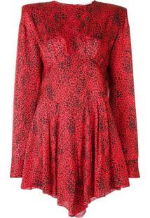 Alessandra Rich Vestido De Seda Com Estampa De Oncinha - Vermelho