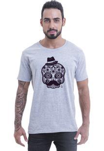 Camiseta Blast Fit Cinza Caveira Mexicana