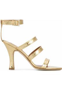 Paris Texas Sapato Metálica Com Efeito De Pele De Cobra E Salto 95Mm - Dourado