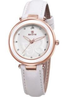 Relógio Skone Analógico 9294 Branco