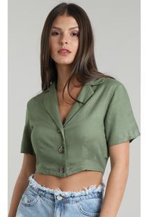 Camisa Feminina Cropped Com Botões Manga Curta Verde Militar