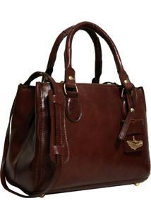 Bolsa Line Store Leather Clássica Couro Marrom Avermelhado.