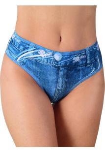 Calcinha Vip Lingerie Tanga Fake Jeans Azul