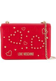 Love Moschino Bolsa Transversal Com Tachas E Corações - Vermelho