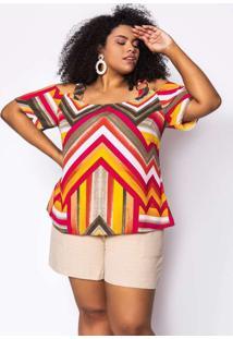 Blusa Almaria Plus Size Kayla Crepe Sandra Rosa