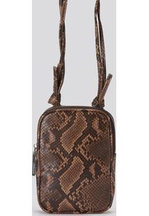 Bolsa Amaro Crossbody Snake Alã§A Torcida Snake Caramelo - Marrom - Feminino - Dafiti