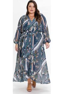 Vestido Plus Size Transpassado Floral Color