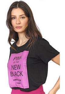 Camiseta Forum Lettering Preta - Preto - Feminino - Viscose - Dafiti
