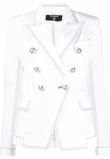 Balmain Blazer Com Ombros Estruturado - Branco