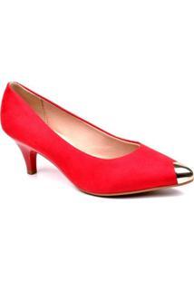 Scarpin Beira Rio Metalizado - Feminino-Vermelho