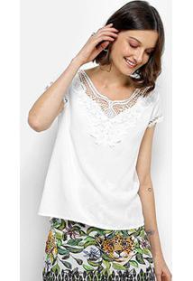 Blusa Sofia Fashion Guipir Feminina - Feminino-Branco
