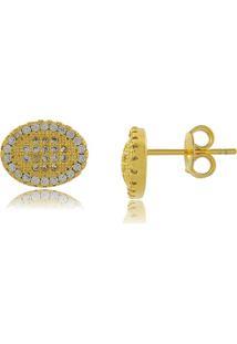 Brinco Oval Com Detalhe Central Em Mini Zircônias Folheado A Ouro 18K - Kanui