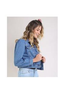 Jaqueta Jeans Feminina Cropped Com Bolsos Manga Bufante Azul Médio