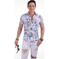 e230b29d82 Camisa Horus Social Manga Curta Slim Floral - Masculino-Azul