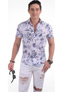 Camisa Horus Social Manga Curta Slim Floral - Masculino-Azul