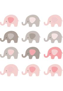 Adesivo De Parede Infantil Elefante Rosa E Cinza 48Un 12X8Cm