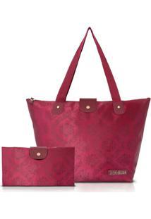 Bolsa Dobrável Jacki Design Estampada - Feminino-Vinho