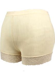 Calcinha Short Acabamento Renda Nude Aumenta Bumbum Define Corpo Modelo Anatômico Conforto Feminino