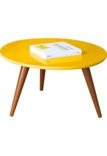 Mesa De Centro Sorelle Amarelo Pés Palito