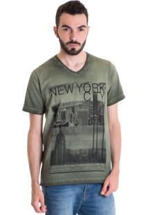 Camiseta Konciny Manga Curta Estonada 33011 Musgo