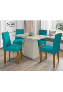 Conjunto De Mesa De Jantar Jasmin Com 4 Cadeiras Estofada Amanda Veludo Branco E Turquesa