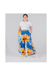 Calça Pantacourt Almaria Plus Size Miss Taylor Estampada Azul