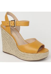Sandália Plataforma Em Couro Com Pespontos- Amarelo Esculoucos E Santos