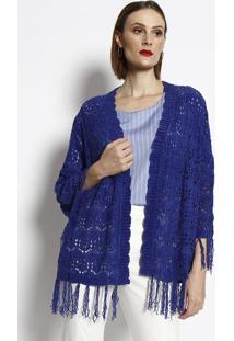 Casaqueto Em Tricô Com Franjas- Azul- Cotton Colors Cotton Colors Extra