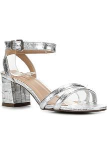 Sandália Couro Shoestock Croco Metalizada Feminina - Feminino-Prata