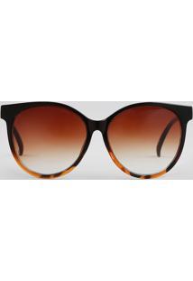 Óculos De Sol Redondo Feminino Oneself Marrom
