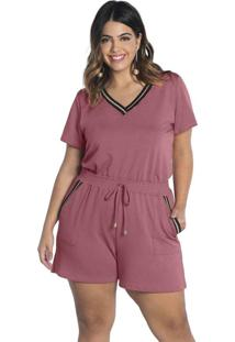 Conjunto Blusa Decote V E Shorts Moli Comfy Rosa