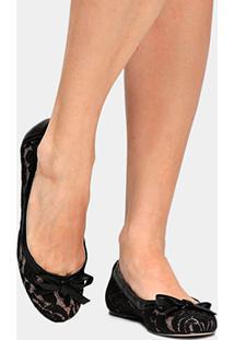 Sapatilha Shoestock Renda - Feminino-Preto