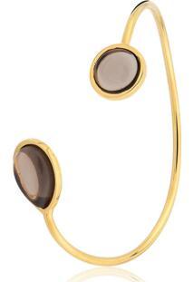 Pulseira Toque De Joia Bracelete Circulo Gota Fumê Dourado