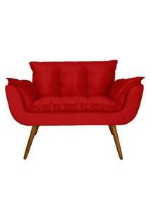 Namoradeira Poltrona Sofá Decorativa 02 Lugares Opalla Pés Palito Vermelho - Ds Móveis