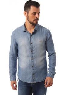 Camisa Eventual Manga Longa Masculina - Masculino-Azul