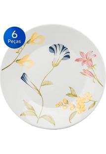Conjunto Pratos Rasos 06 Peças May - Biona Cerâmica - Colorido