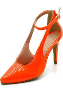 Sapato Scarpin Aberto Salto Alto Fino Em Napa Verniz Laranja Neon