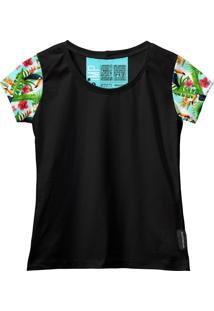 Camiseta Baby Look Feminina Algodão Estampa Animal Estilo Azul-Preto G Verde