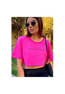 Camiseta Cropped Feminina Under79 Rosa Pink Frases