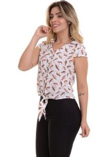 Blusa Cropped Crepe Estampada Feminina - Feminino-Branco