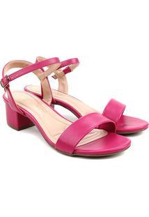 Sandália Via Uno Salto Grosso Baixo Feminina - Feminino-Pink