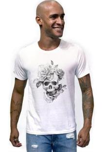 Camiseta Joss Caveira Flor Masculina - Masculino-Branco