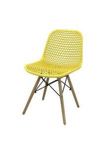Cadeira Rock Polipropileno Amarelo Base Madeira 78Cm - 62943 Sun House